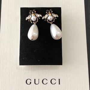 Designer Inspired Bee earrings pearl crystals